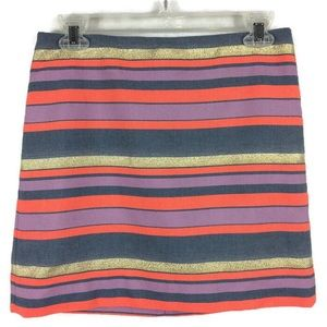 J Crew Mulitcolored Striped Mini Skirt Spring Sz 0